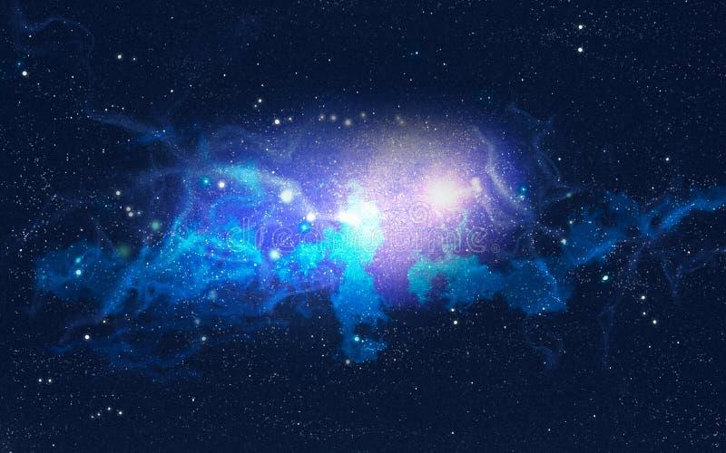 Galaktiskt nebulosa med ljusa utbrott royaltyfri illustrationer