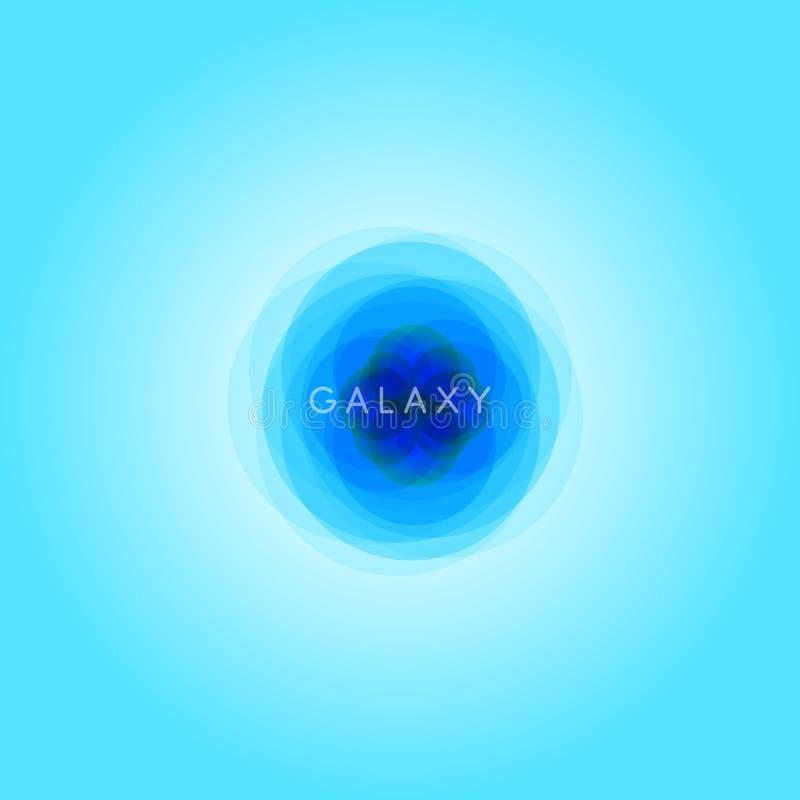 Galaktyki abstrakcjonistyczna ilustracja, astronautyczny loga szablon, wszechrzecza błękitna ikona, błękitny gradientowy tło royalty ilustracja