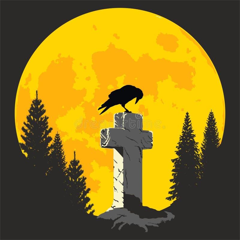 Galande på ett kors i månskenet stock illustrationer