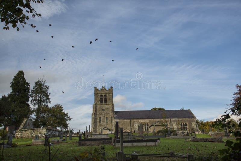 Galanden som flyger över kyrka arkivfoton