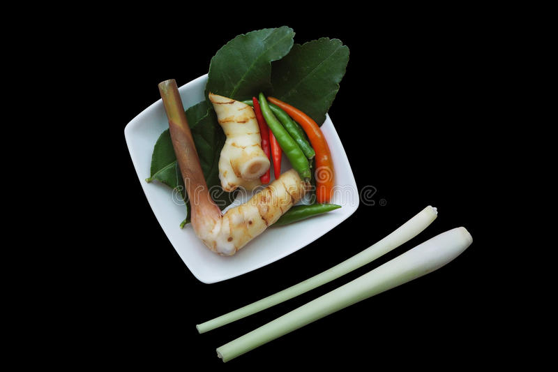 Galangal, chili, kaffir lime leaf, white plate and lemongrass stock image