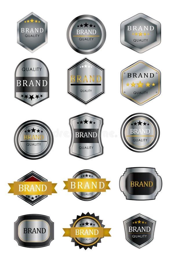 Galanteryjne metal etykietki royalty ilustracja