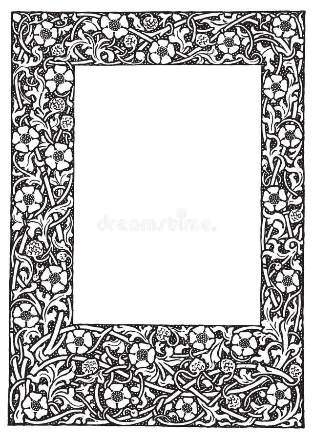 galanteryjnego filigranu kwiecisty ramowy ilustraci wektor