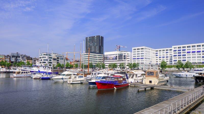 Galanteryjni jachty cumowali przy Willemsdok piękni marinas w Europa, dalej, Antwerp, Belgia obrazy stock