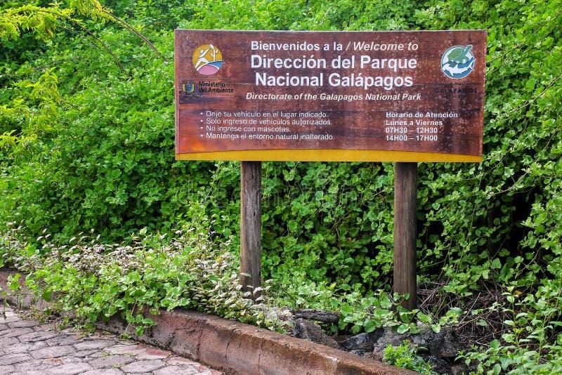 Galapagos εθνικό σημάδι έδρας πάρκων στο Charles Δαρβίνος Rese στοκ φωτογραφία με δικαίωμα ελεύθερης χρήσης