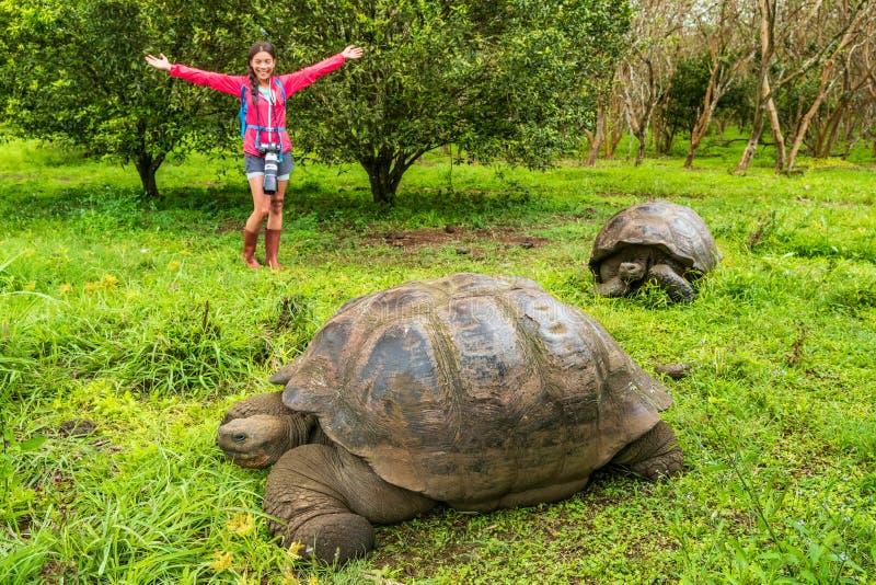 Galapagos Giant Tortoise and happy tourist woman on Santa Cruz Island Galapagos royalty free stock photos