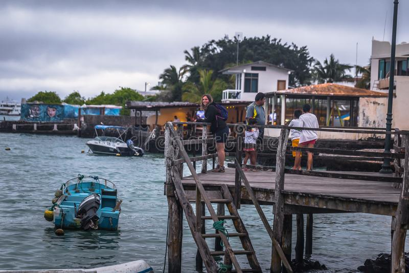 Galapagos Islands - August 24, 2017: Harbor of Puerto Ayora in Santa Cruz island, Galapagos Islands, Ecuador royalty free stock photography
