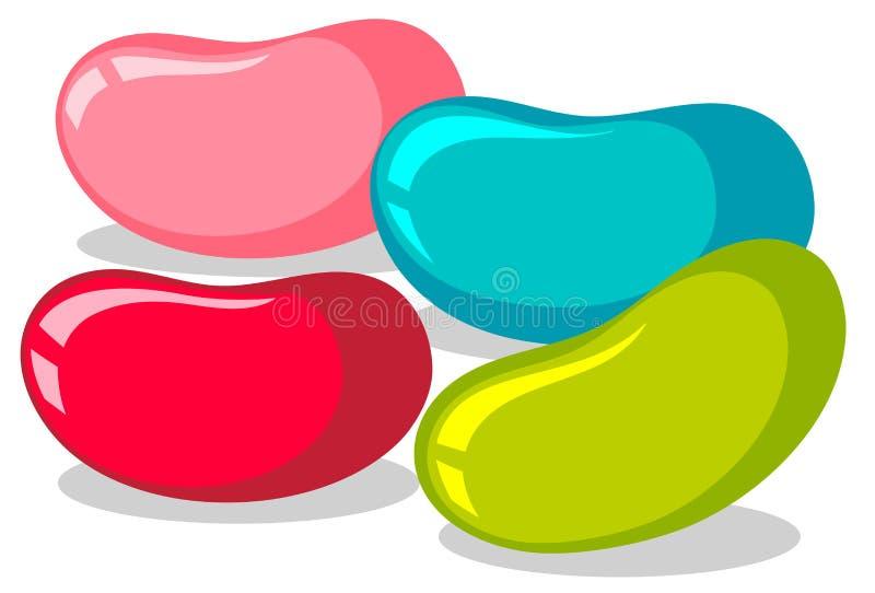 Galaretowe fasole w cztery kolorach ilustracji