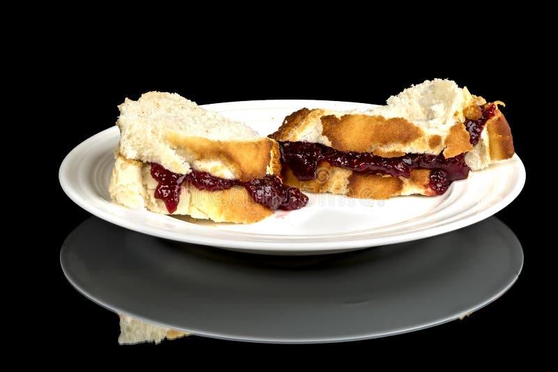 Galaretowy Sandwitch na białym talerza zakończeniu up zdjęcia royalty free
