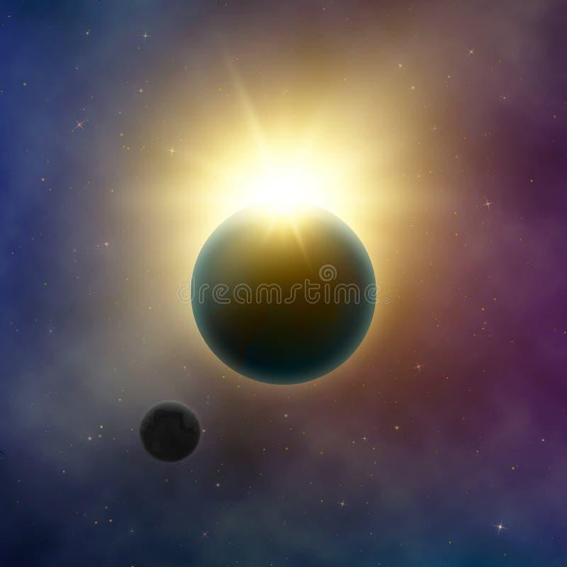 Galassia astratta della Via Lattea Eclipse solare Lustro di Sun dietro pianeta Terra e la luna Cielo notturno stellato Fondo di v illustrazione vettoriale