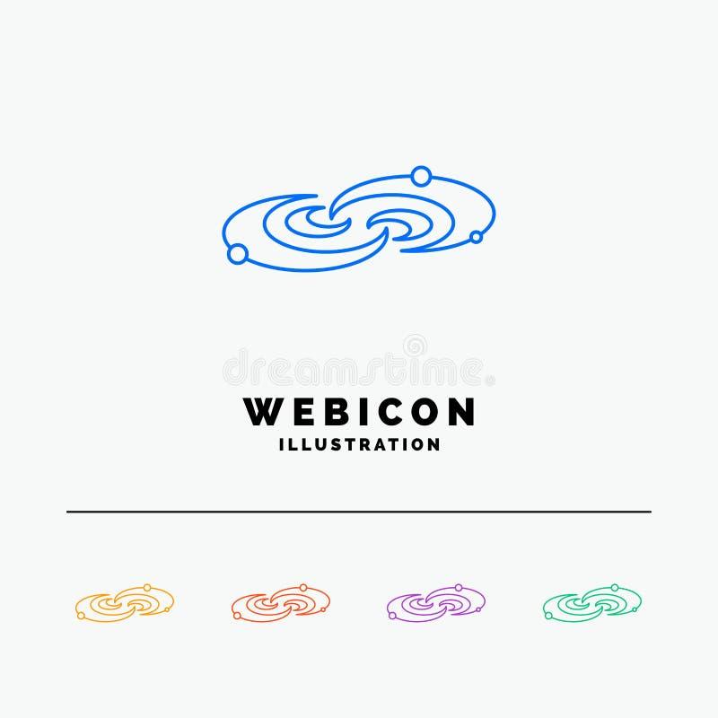 Galassia, astronomia, pianeti, sistema, linea di colore dell'universo 5 modello dell'icona di web isolato su bianco Illustrazione royalty illustrazione gratis