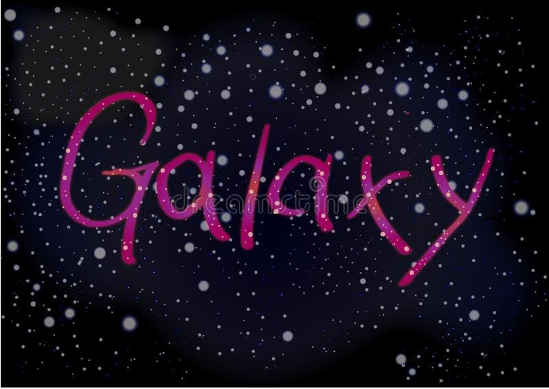 Galassia dell'iscrizione sui precedenti del cielo dello spazio scuro con il mulino fotografia stock libera da diritti