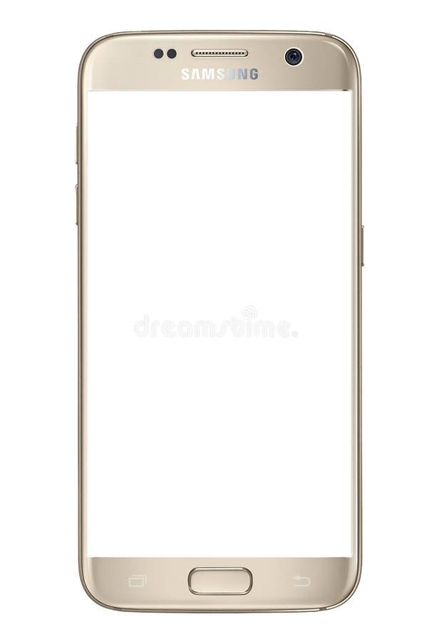 Galassia S7 di Samsung con lo schermo in bianco fotografie stock libere da diritti