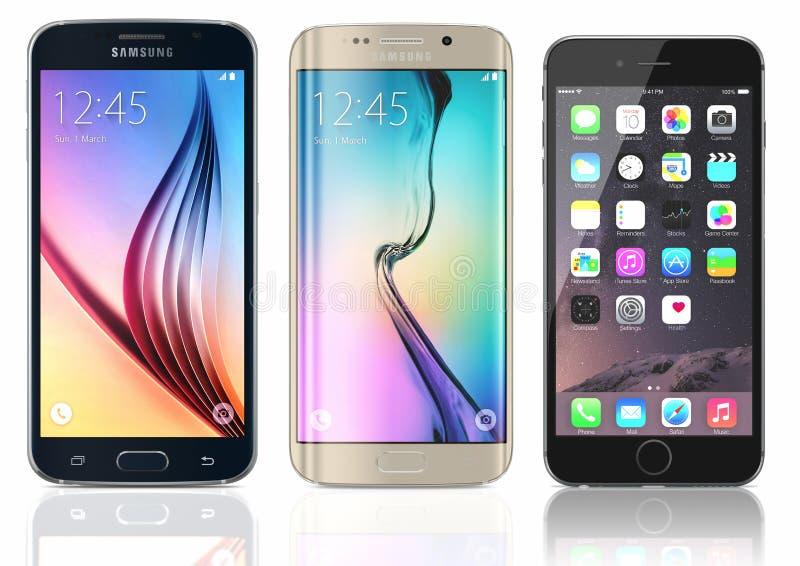 Galassia S6 di Samsung e bordo e iPhone 6 illustrazione vettoriale