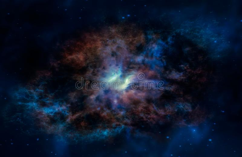Galassia straniera di fantasia con le nubi ardenti fotografie stock