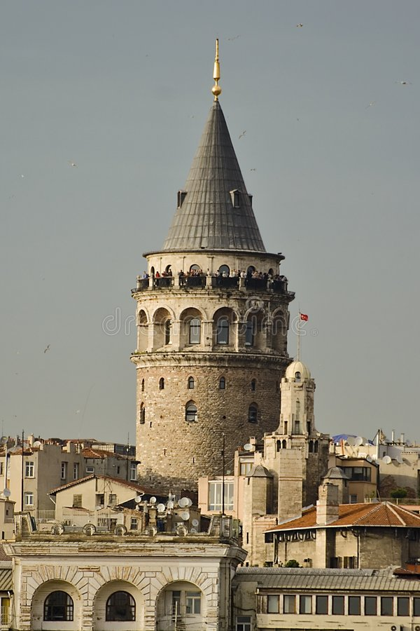 Galata. Tower is an important figure in Istanbul royalty free stock photo