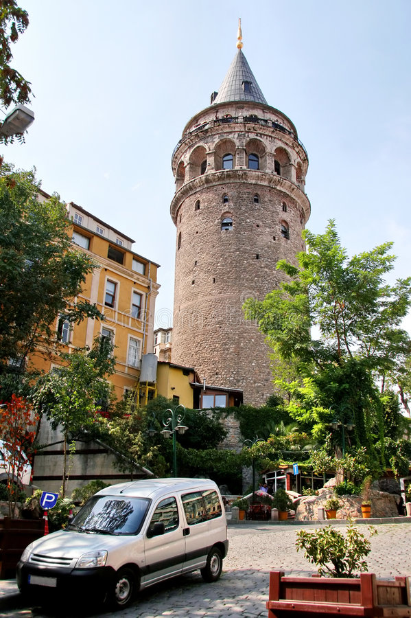 Galata. Square on a sunny day Istanbul - Turkey stock images