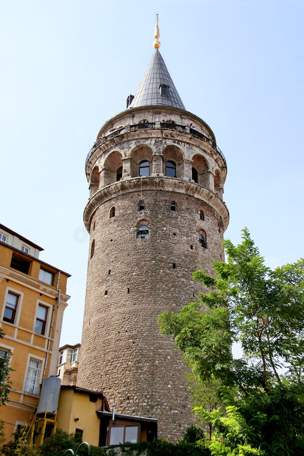 Galata. Tower on a sunny day in Istanbul stock photos