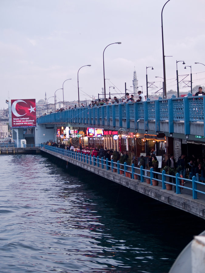 Galata Bridge. Fishermen on the Galata Bridge - Istanbul - Turkey stock image