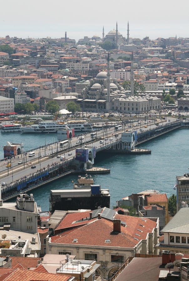 Galata bridge from above, Istanbul stock images