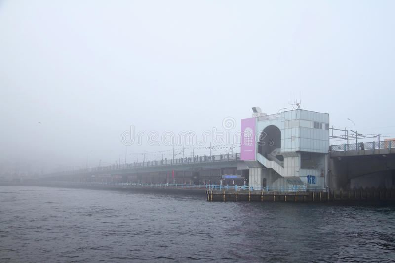 Galata Bridge in fog stock photography