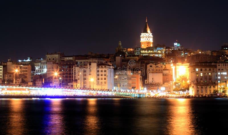 Galata bridge and Galata tower. In Istanbul royalty free stock image