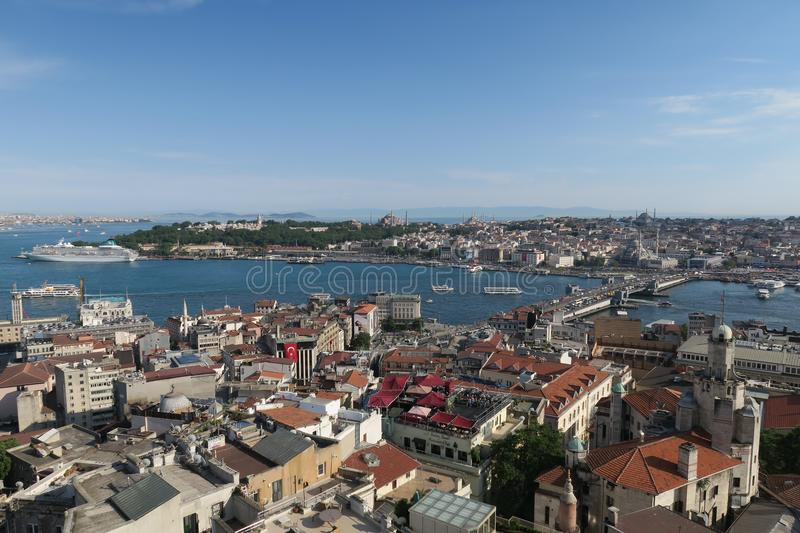 Galata Bridge, the Golden Horn and Istanbuls Oldtown Sultanahmet, as seen from Galatatower royalty free stock photography
