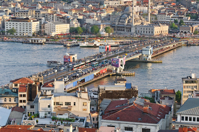 Galata Bridge, Istanbul. Crowds of people fishing or walking on Galata Bridge. The bridge connects Sultanahmet district to the Galata chapter, over Golden Horn royalty free stock images