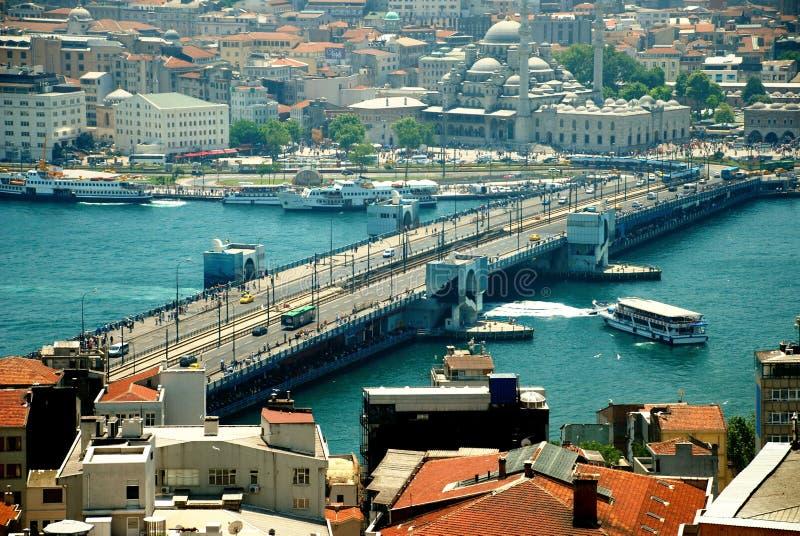 Galata Bridge Istanbul. Aerial view of Galata Bridge Istanbul stock image