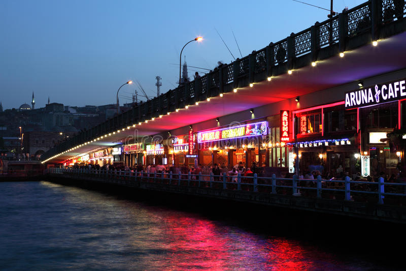 Galata Bridge at night, Istanbul royalty free stock images