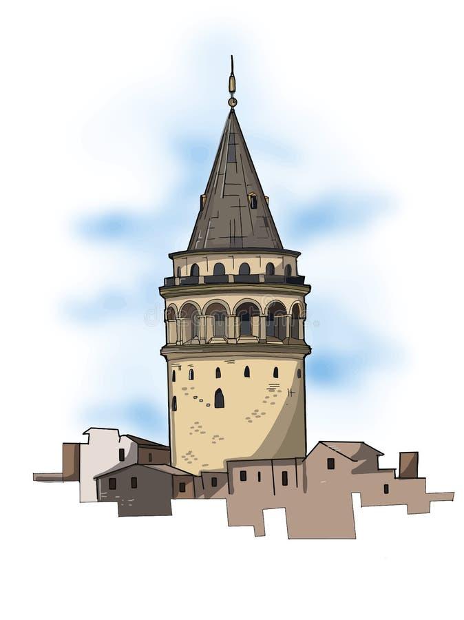 Galata góruje ilustraci i niebieskiego nieba indyczego rysunkowego białego tło ilustracja wektor