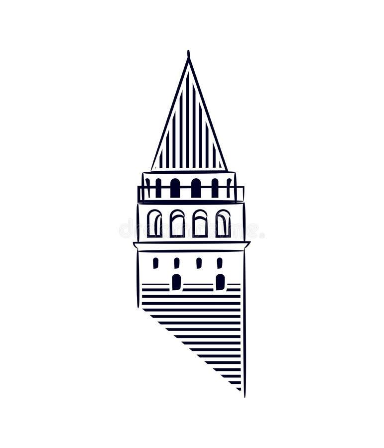 Galata Góruje Istanbuł odizolowywającego ikony kreskowej sztuki ilustracyjnego robić styl Galata Góruje jako symbol Karakoy, zdjęcia royalty free