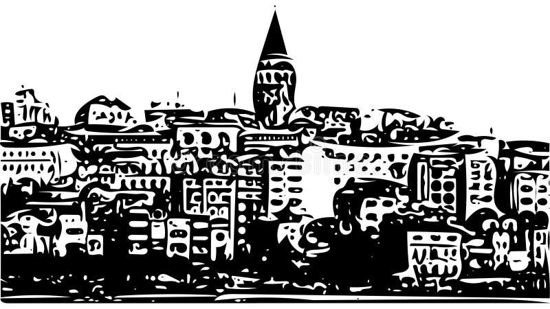 Galata Góruje pejzażu miejskiego nakreślenie ilustracyjny Istanbuł, Turcja ilustracja wektor