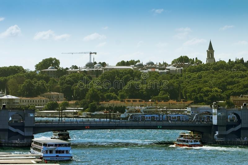 Topkapi Palace and Galata Bridge at Istanbul, Turkey. stock photography