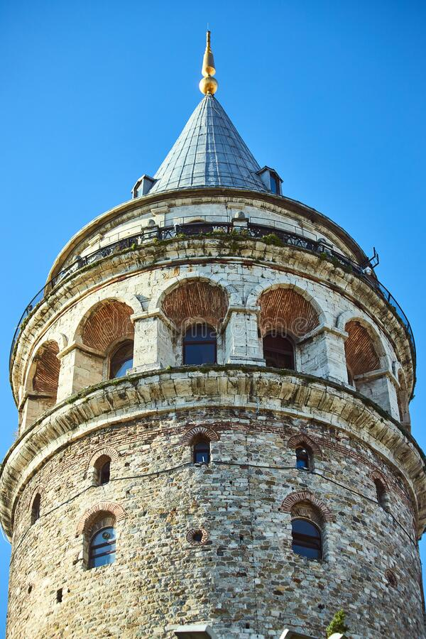 Galata Kulesi Tower in Istanbul, Turkey. Ancient Turkish famous landmark in Beyoglu district, European side of the city. Architect. Ure of the former stock images