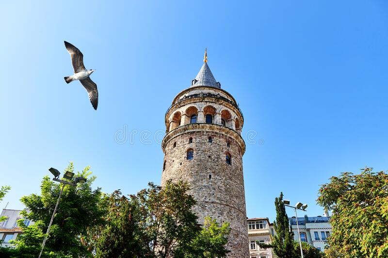 Galata Kulesi Tower in Istanbul, Turkey. Ancient Turkish famous landmark in Beyoglu district, European side of the city. Architect. Ure of the former stock photos