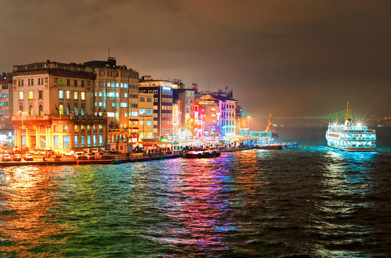 Galata quarter on Bosporus in Istanbul, Turkey. Night view of Galata quarter on Bosporus in Istanbul, Turkey royalty free stock photo