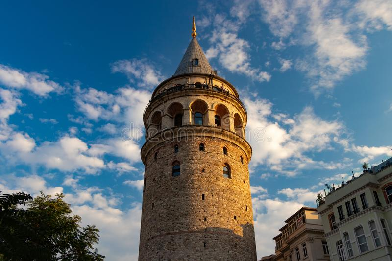The Galata Tower medieval stone tower in Istanbul, Turkey. The Galata Tower — called Christea Turris by the Genoese — is a medieval stone tower in royalty free stock photography