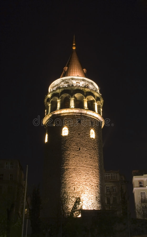 Galata Tower. In Istanbul at night stock photos