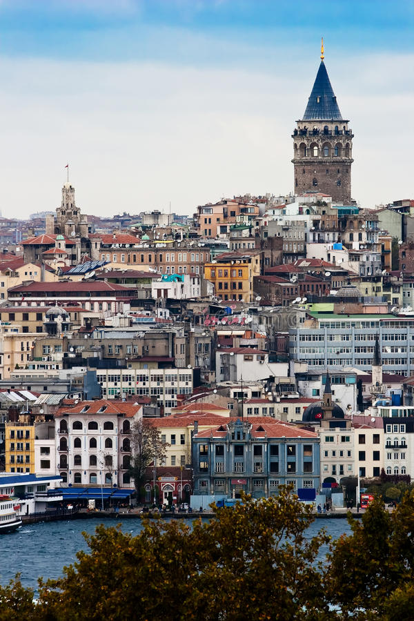 Galata Tower. This picture is for an old tower in Istanbul named Galata Galata (Greek: Γαλατά) or Galatae is a neighbourhood in the Beyoğ royalty free stock photo