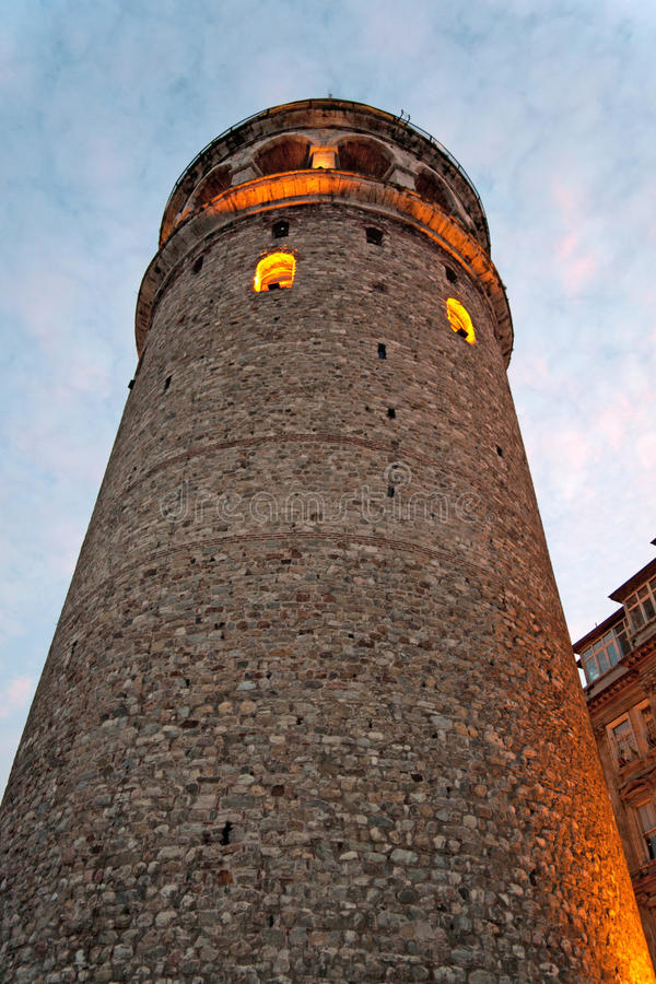 Galata tower. Perspective from below the hill stock photography