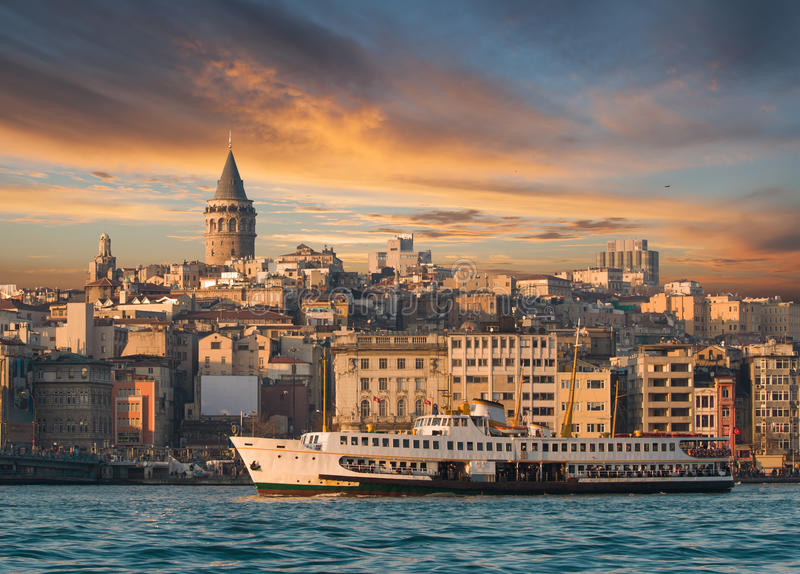 Galata Tower. View from Istanbul with Galata Tower and the ferry stock photography