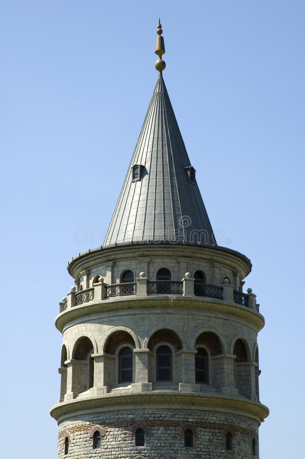 Galata Tower. In Istanbul, Turkey (built in 1348, used as jai, observatory,l and warehouse stock image