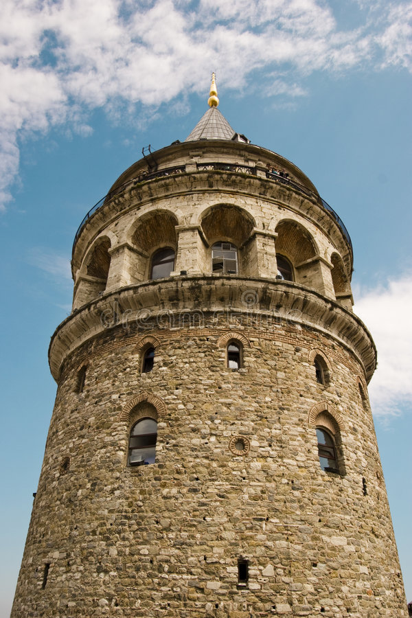 Galata Tower. Was built as Christea Turris in 1348 during an expansion of the Genoese colony in Constantinople. At 66.9 m high, it was the tallest structure stock image
