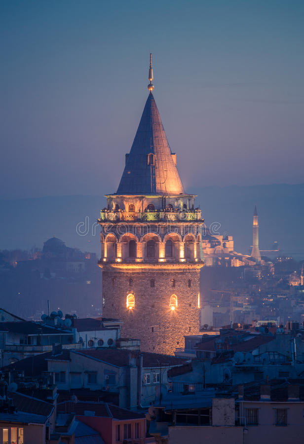 Galata Tower. At Night in Istanbul Turkey royalty free stock photos