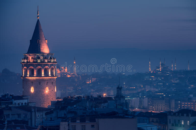 Galata Tower. And The Blue Mosque in Istanbul Turkey royalty free stock image