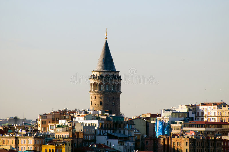 The Galata Tower. (Turkish: Galata Kulesi), also called Christea Turris (Tower of Christ) by the Genoese and Megalos Pyrgos (The Great Tower) by the Byzantines royalty free stock photo