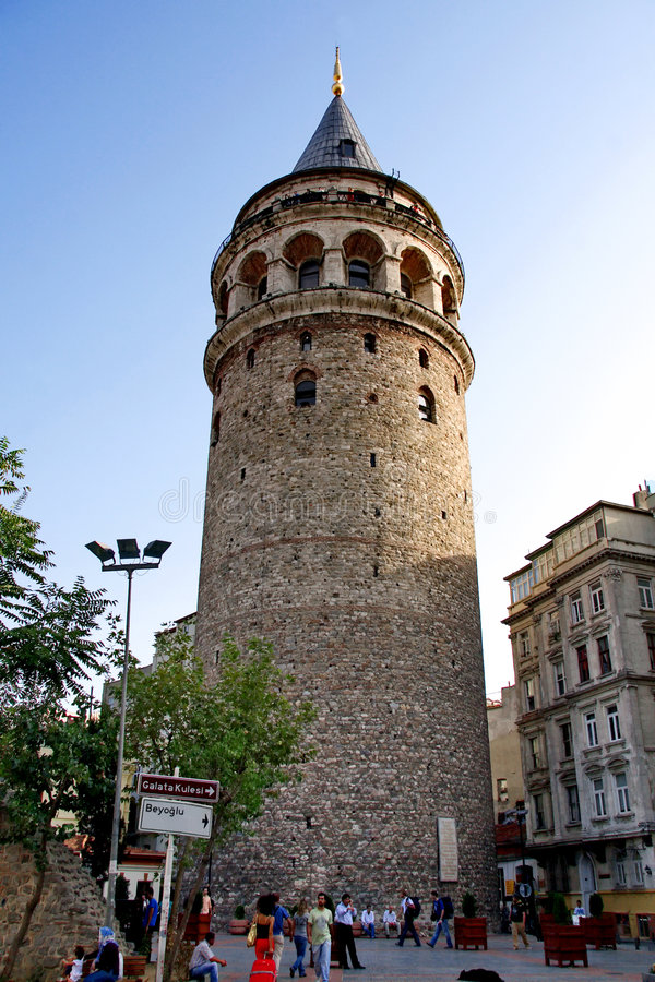 Galata Tower. Galata Square on a sunny day Istanbul - Turkey stock photography
