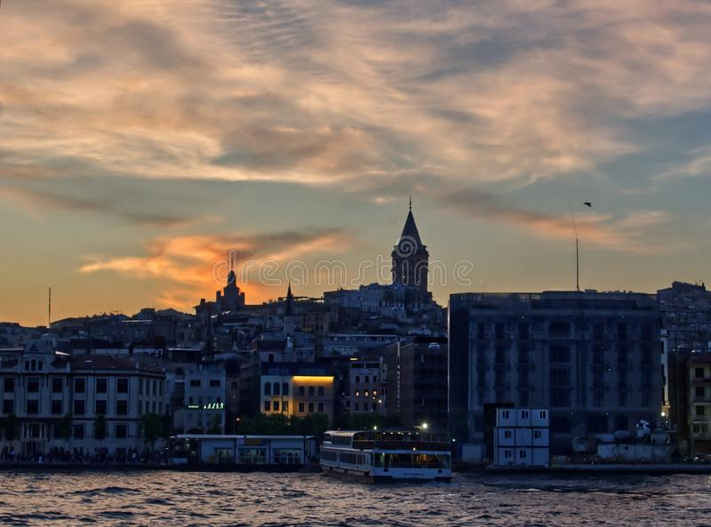 Galata tower from the Bosphorus royalty free stock photo
