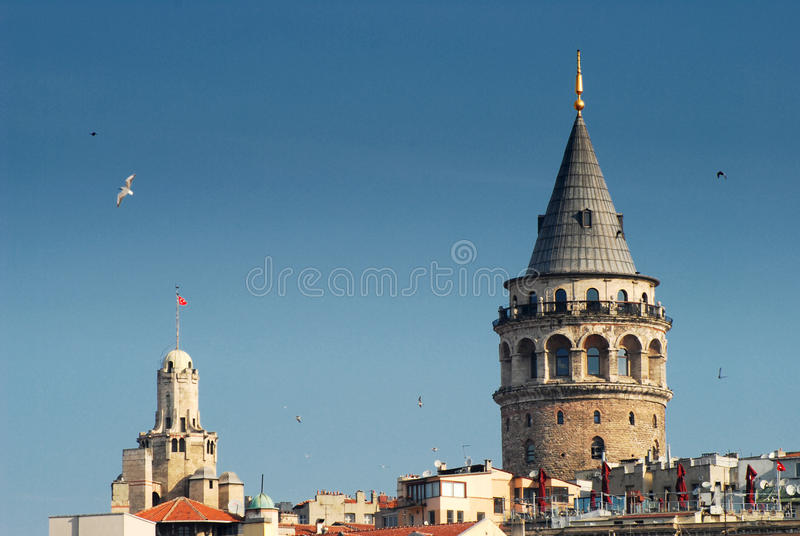 Galata Tower. The Galata Tower called Christea Turris by the Genoese royalty free stock image